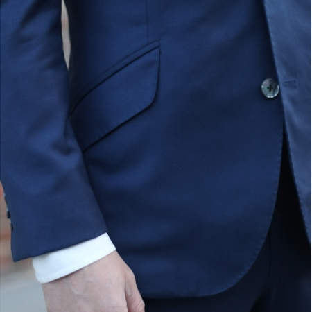 Wedding suit navy angle pocket closeup